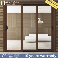 International brand powder coated color water proof sliding fly screen door with guards