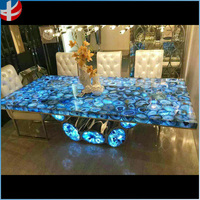Classic Natural Gemstone agate onyx backlit chalcedony table and desk
