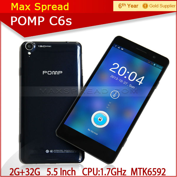 "2014 POMP C6S 5.5"" smart phone octa core MTK 6592 1.7ghz 1920*1080p 2g ram32g rom android 4.2.2 latest cellphone"