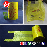 T shirt bags /side gusset vest plastic shopping bags/handle rolled bags