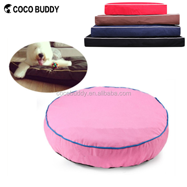 Top Quality Comfortable 100% Cotton Canvas Cute Pink Round Orthopedic Luxury Pet Bed For Dogs
