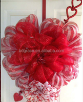 red deco mesh with silver metallic thread for heart shaped wreaths making on Valentine's Day