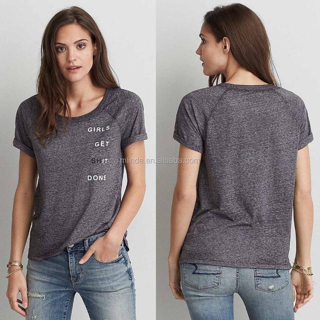 Woman Polyester Cotton Viscose Scoop Neck Raglan Sleeve Burnout Spirit Graphic Industrial Fancy T Shirt Printing Machine T-Shirt