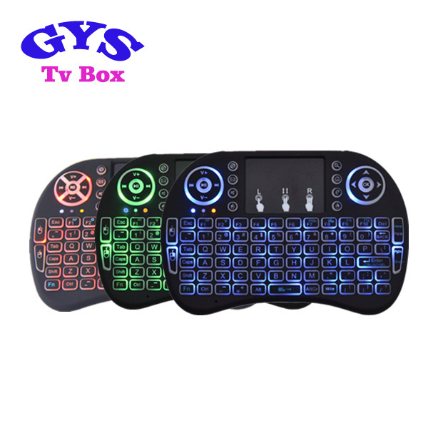 Most popular Mini keyboard with 3 colors backlit airmouse use for smart tv box android tv box