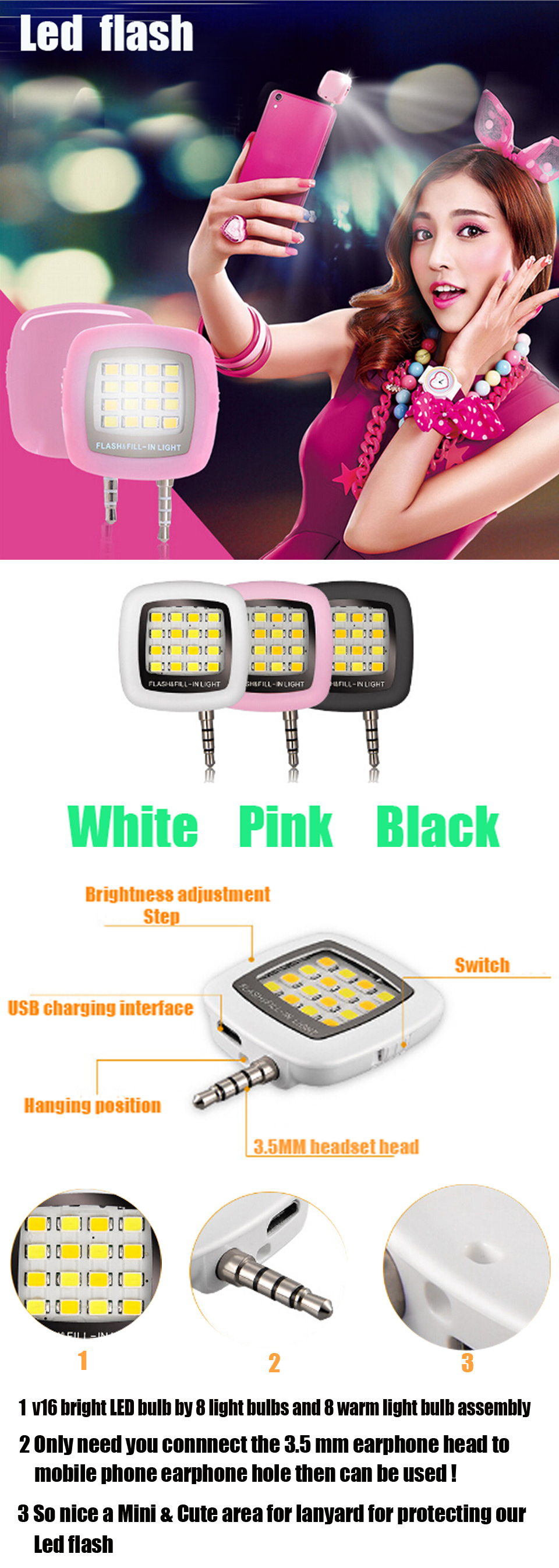 Good Promotional Gift Products LED Selfie Flash Light for Mobile Phone Made in China