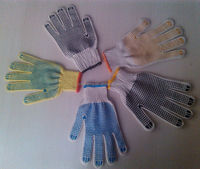 pvc dotted working glove/red nylon safety gloves