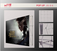 JIS8-6,2014 hot sale Straight or curved shape portable PVC Pop Up magnetic display stand