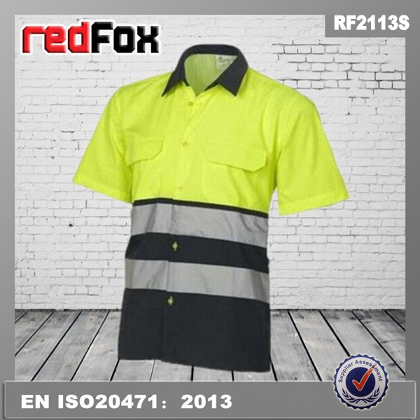 two toned 100% cotton hi vis work shirt