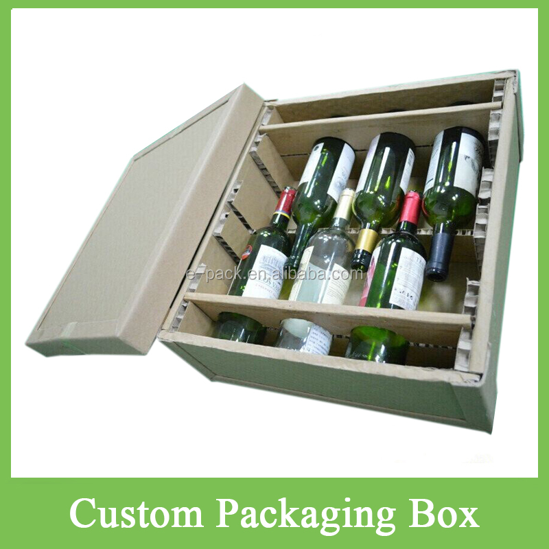 Newest Cheap High Strength Custom Honeycomb Cushion Protective Wine Glass Paper Packaging Boxes China Alcohol Packaging Supplier