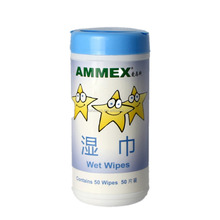 Non-woven wet wipes in canister