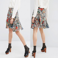 Apparel clothes fish cut viscose short floral latest fashion skirts
