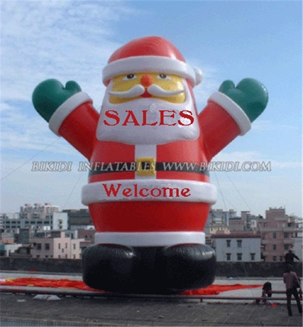 Hot sale outdoor giant advertising Christmas inflatable fat standing Santa Claus balloon C1030