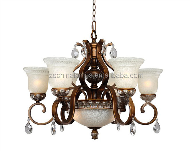 new arrival antique brass metal chandelier lamp with upward scagliola lamp shade for hall decor
