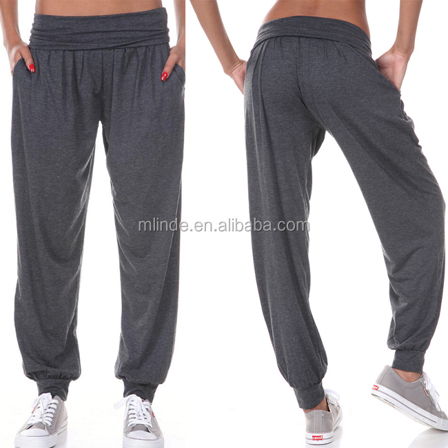 American Women Sports Clothing Casual Dancing Hip Hop Pants Fashion Trendy Shape Stretch Fit Solid Easy Charcoal Harem Pants