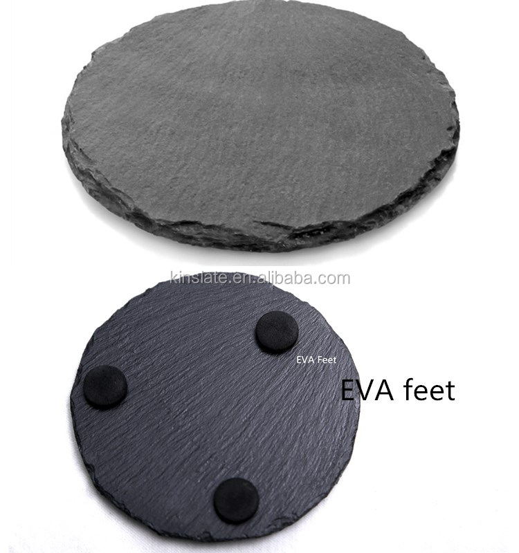 natural black slate coaster round shape