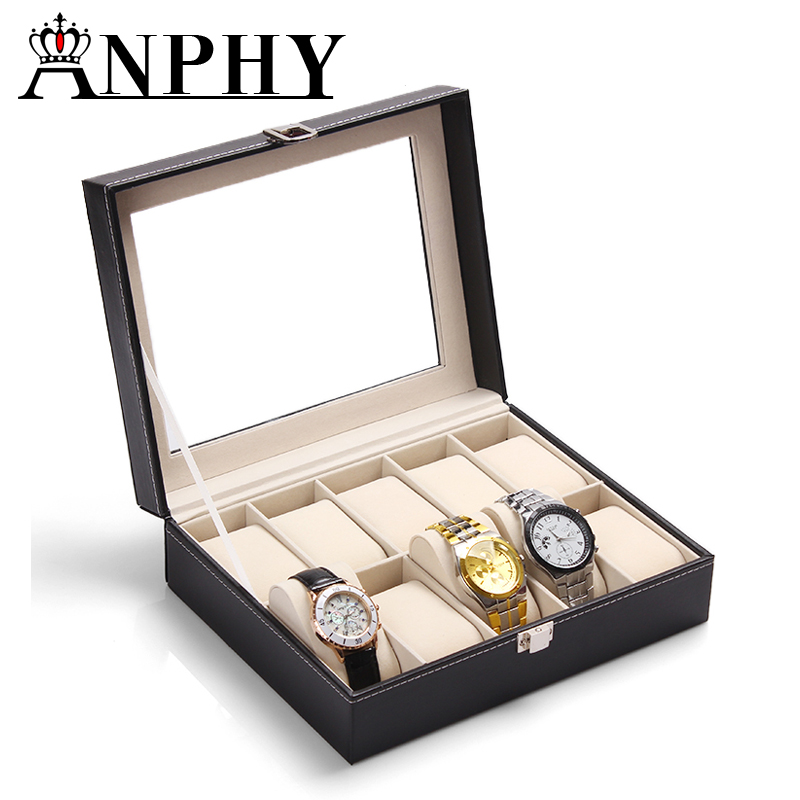 ANPHY C35-1 PU Leather Watch Display Box,Watch Case With Pillow,10 Units Watch Storage Box
