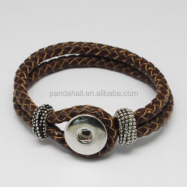 Braided Leather Snap Bracelet Interchangeable Jewelry(AJEW-<strong>R022</strong>-10)