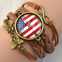 Manufactur Bracelets Round Copper Flag Cabochon Infinity Wristband Rope Leather Bracelets For Women Bracelets Fashion Jewelry