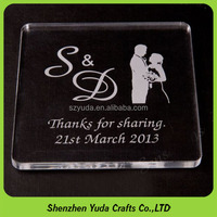 Clear Plastic Photo Coaster Favours Engraved Personalised Acrylic Wedding Coaster