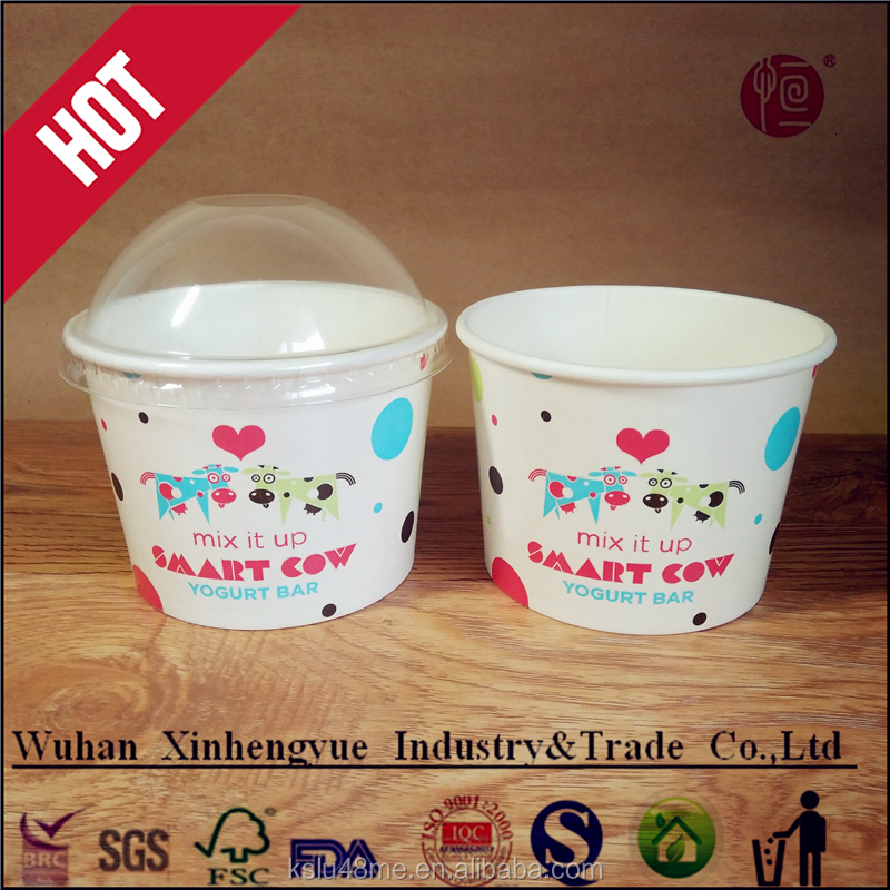 8oz Disposable Frozen Yogurt Cup Ice Cream Container with FDA certificate