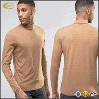 Wholesale Design your own brand 2016 Regular fit Stretch jersey t shirt long sleeve men new high neck t shirts for sale