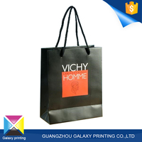 2016 Whole sale coated paper luxury fancy black shopping bag with custom logo manufactured in China