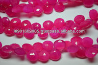 Natural Pink Chalcedony Faceted Heart Briolette Beads