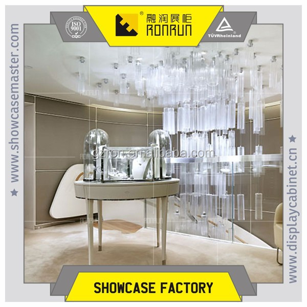 Popular white painting jewelry display cube and table with high quality led lights for jewelry shop furniture