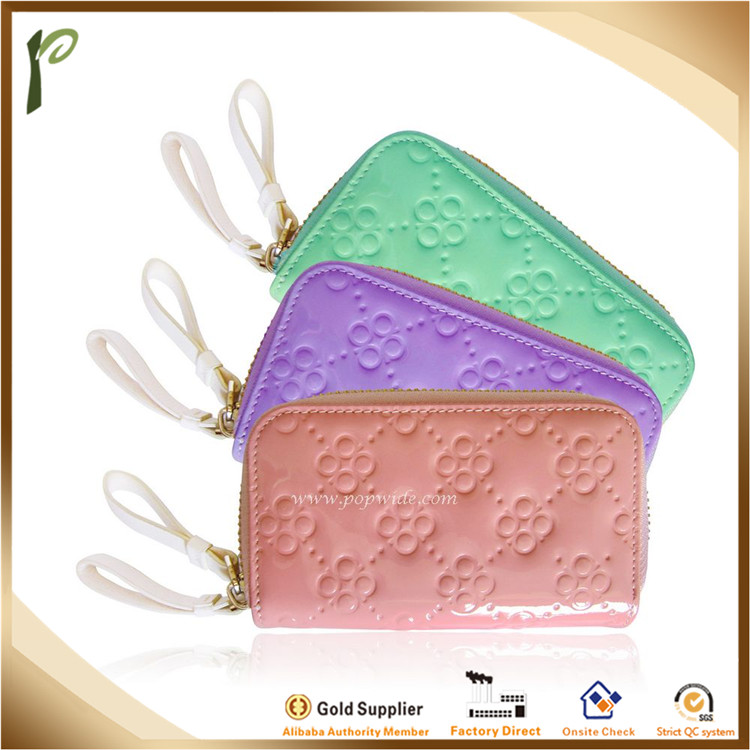 Popwide 2015 Hot Fashion High Quality Cheap Candy Color PU Ladies Purse