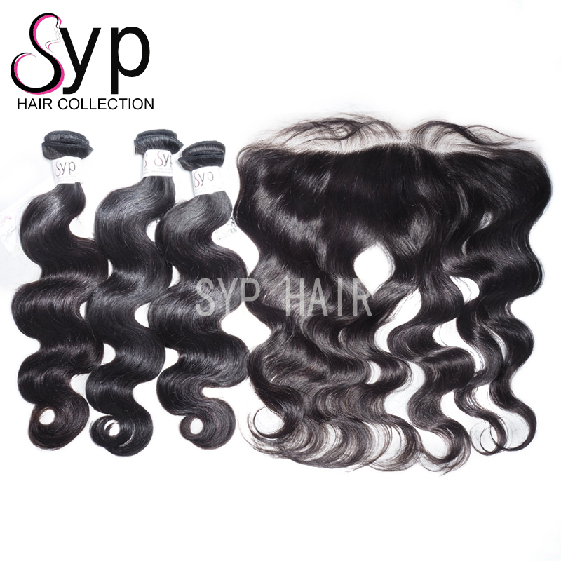 Full Weave Hd Lace Frontal With Bundles With Baby Body Wave Weft Hair