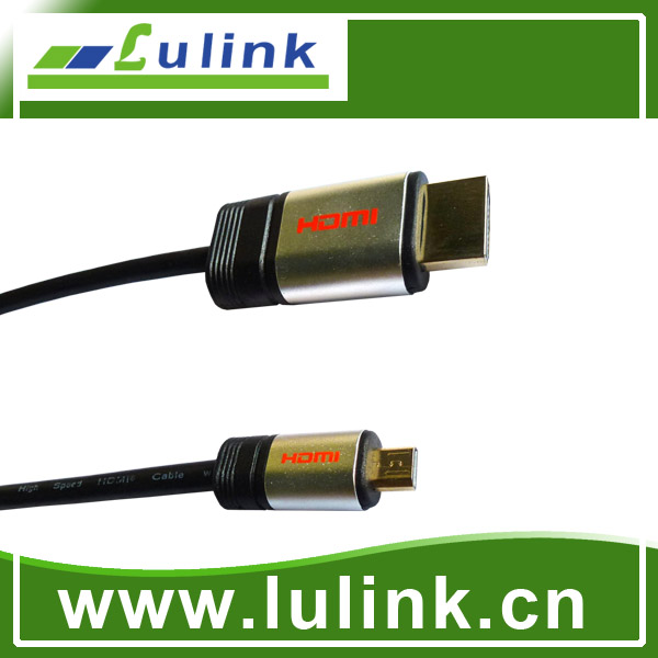 Metal casing type Micro type A TO D HDMI M to M Cable, 1.4V