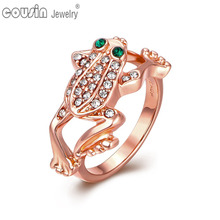 JZ0142 High quality latest rose gold plated finger wedding crystal frog ring designs