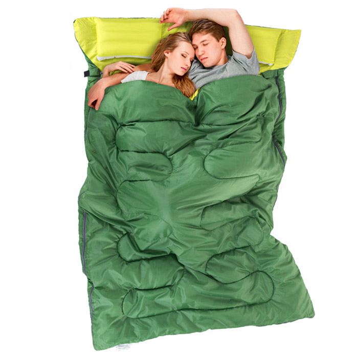 couple double sleeping bag with pillows sleeping bag outdoor camping indoor lunch break portable Adult lover warm for four seaso