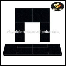 Black Granite Gas & Electric Fireplace Back Panel & Hearth Set