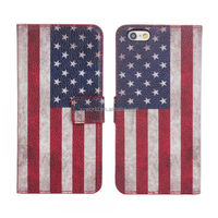 Wholesale in store factory printing fashion cellphone flag leather case for iphone 6/6s