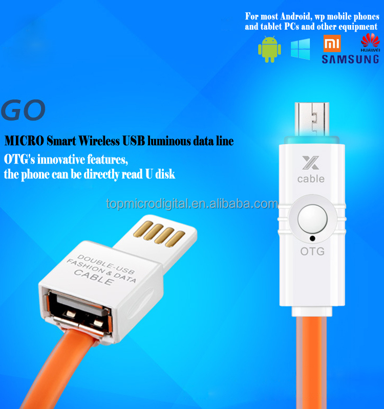 2015 best selling led light cable multi function micro OTG USB cable for Samsung