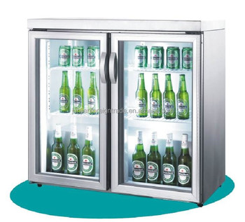 refrigeration equipment china manufacturer air-cooled stainless steel 2 door glass display vertical mini fridge for beer