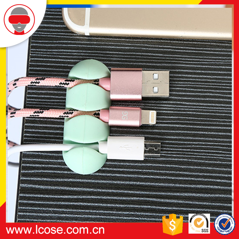 Eco-Friendly Silicone Cable Clips 4 Slot Desktop cable holder