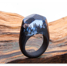 moist snowfall forests with light landscape handmade Wooden rings for women Wood resin ring
