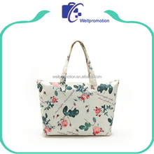 Printing zipper canvas tote bags women handbags