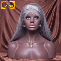 22 Inch Silk Straight silver grey human hair lace wigs