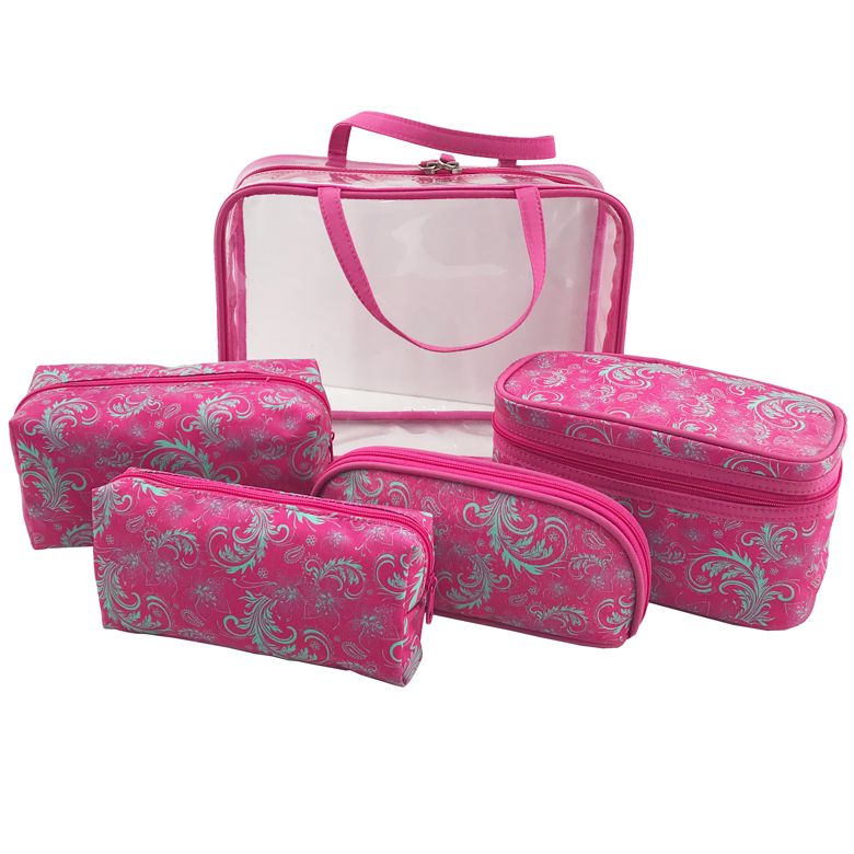Wholesale Private Label 5pcs Set Cosmetic Travel Organizer Make Up Brush Bag with Transparent PVC