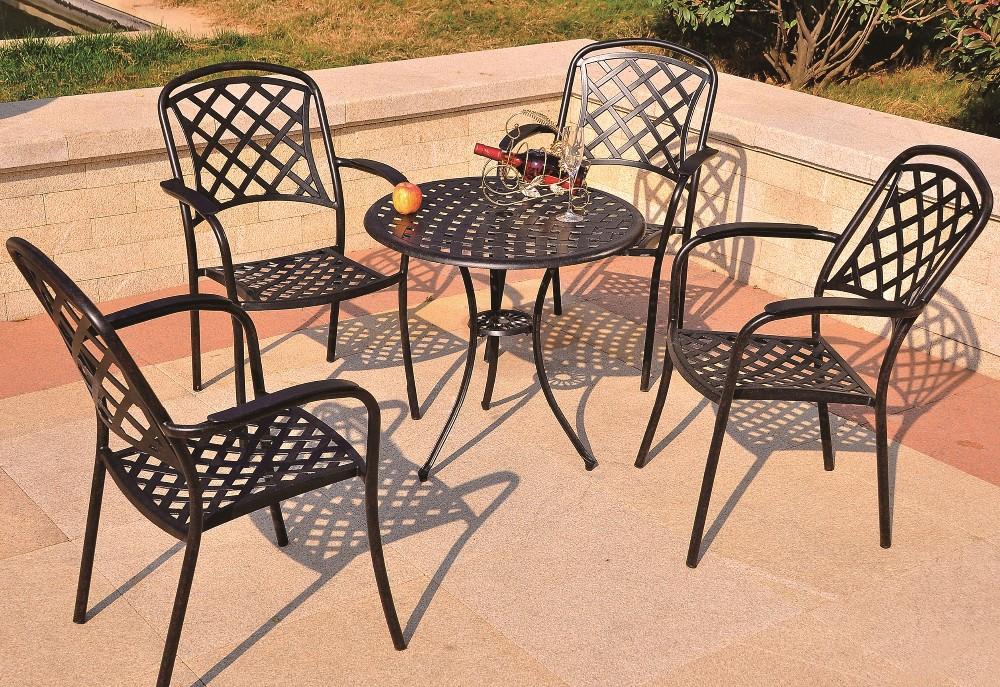 All weather resistente rotondo tavolo da pranzo e sedie for Sedie da esterno in ferro battuto