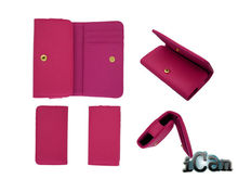Rose Red PU Leather Zipper Wallet Card Holder Flip magnetic Case Cover for iPhone 4 4S 4G