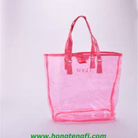 Coloured Zipper Clear PVC Tote Bag