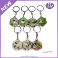 HX-6523 Wholesale cute birds custom glass key rings fobs