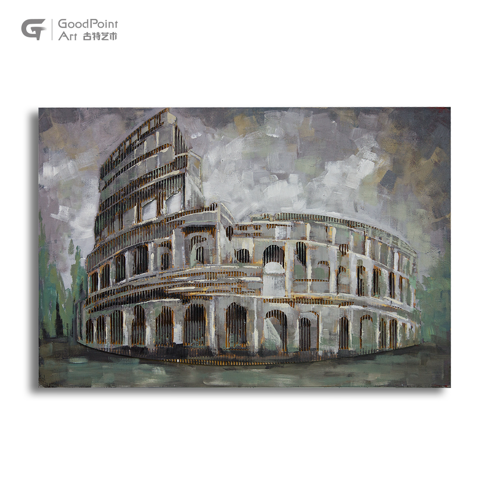 Roman Building 3d Wall Art Canvas Home Decor Cityscape Painting For Dining Room