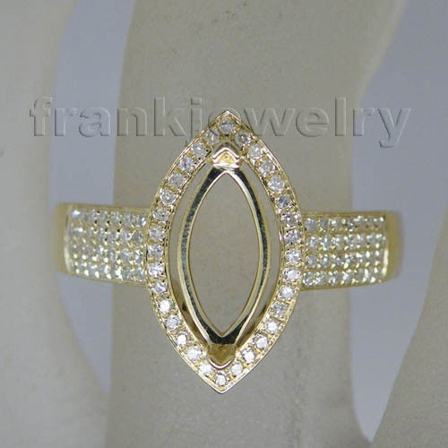 Exquisite Jewelry14kt Yellow Gold Natural Diamonds Marquise Cut 5x10mm Semi Mount Ring Gemstone Gold Jewelry WU073