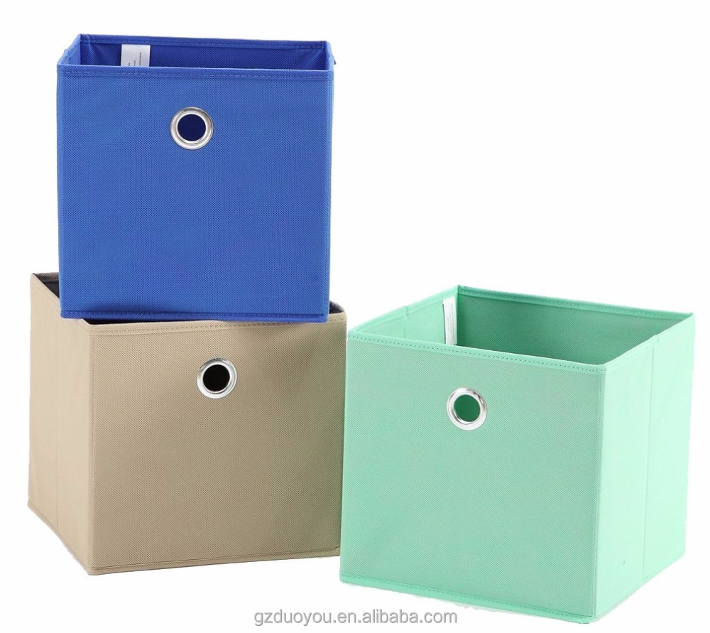 Foldable Fabric Cube Storage Bins with Metal Lined Handles