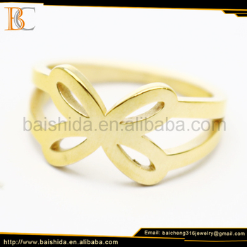 fake gold rings stainless steel pall ring women jewelry gold plated
